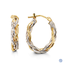 Bella 10kt White and Yellow Gold Twist Hoops