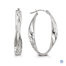 Bella 10kt White Gold Hoop Earrings