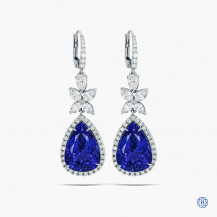 18kt white gold 21.20cts Tanzanite and Diamond Earrings
