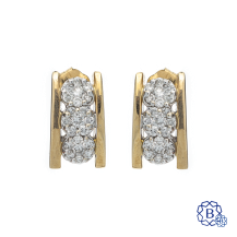 14kt yellow and white gold diamond earrings