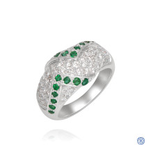 14kt White Gold 0.90ct Diamond and 0.41ct Emerald Ring