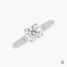 Scott Kay 19k white gold lab grown moissanite and diamond engagement ring