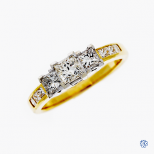 14kt Yellow and White Gold 1.00ct Three Diamond Engagement Ring