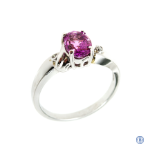 14k white gold sapphire, and diamond ring