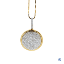 18kt Yellow Gold Pave Diamond Pendant and Chain