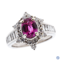 18k white gold, pink sapphire and diamond ring