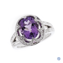 18kt white gold amethyst and diamond ring