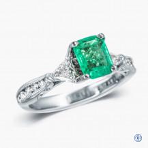 Tacori Classic Crescent 18k white gold emerald and diamond engagement ring