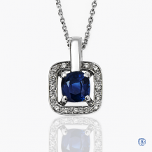 18k white gold diamond and sapphire pendant with chain