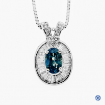 18k white gold alexandrite and diamond oval pendant with chain