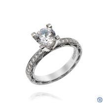 Tacori Reverse Crescent Platinum Moissanite and Diamond Engagement Ring