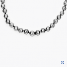 18kt white gold and diamond Tahitian pearl necklace
