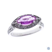 14kt white gold pink sapphire diamond ring