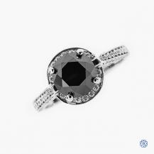 18kt White Gold 2.40ct Round Black Diamond Engagement Ring