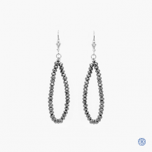 14k white gold black diamond drop earrings