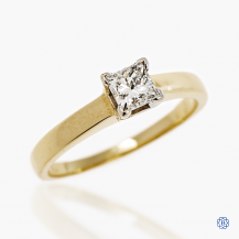 Timeless 14kt Yellow Gold 0.40ct Solitaire Princess Diamond Engagement Ring
