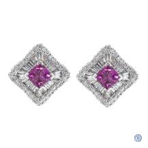 18k white gold ruby and diamond earrings
