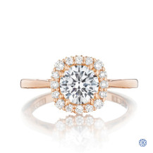 Tacori Full Bloom 18kt Rose Gold Engagement Ring & 1.09ct Round Diamond with Halo