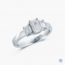 Platinum 0.84ctw Trinity Emerald Diamond Engagement Ring