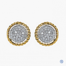 14k yellow and white gold diamond stud earrings