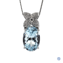 14kt White Gold aquamarine diamond pendant with chain