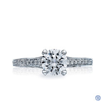 18kt White Gold 0.76ct Diamond Sculpted Crescent Engagement Ring