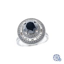 18k white gold, black and white diamond ring