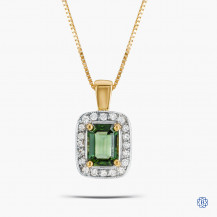 14k Yellow and White Gold Green Tourmaline and Diamond Pendant with Chain