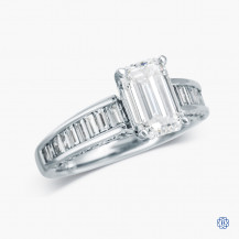 18kt white gold emerald cut diamond engagement ring