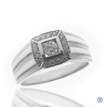 14kt White Gold Diamond Gents Ring