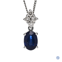 14kt white gold diamond sapphire pendant with chain