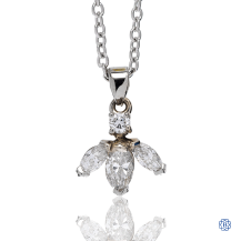 14kt White Gold Marquise Diamond Pendant
