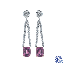 18k white and yellow gold tourmaline and diamond drop earrings