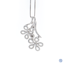 14kt White Gold Floral Diamond Pendant with Chain