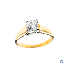 18kt yellow and white gold 0.74ct diamond engagement ring