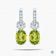 10k White Gold Diamond and Green Peridot Earrings