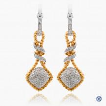 14k yellow and white gold diamond drop earrings