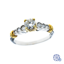 platinum and 18kt yellow gold 0.52ct diamond engagement ring