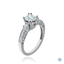 18kt White Gold Cushion Cut Diamond Engagement Ring