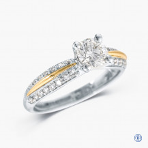 18kt white gold with 14kt rose gold 0.72ct Maple LEaf Diamond Engagement Ring