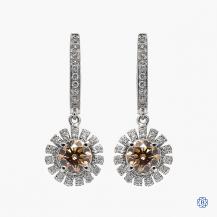 18k white gold 1.44ct brown diamond drop earrings