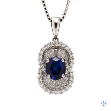 18kt White gold diamond and sapphire pendant with chain
