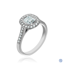 14kt White Gold Cushion Cut Diamond Ring