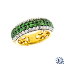18kt Yellow Gold & Tsavourite Garnet Diamond Ring