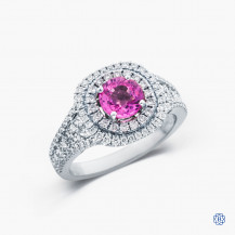 18k white gold 1.16ct pink sapphire and diamond ring