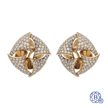 18k red gold and diamond earrings