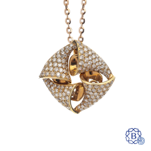 18k red gold and diamond pendant with chain