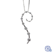 14k white gold diamond pendant and chain