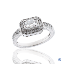 14kt White Gold 0.56ct Emerald Cut Diamond Engagement Ring