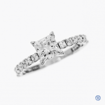 Tacori Clean Crescent 18k white gold moissanite and diamond engagement ring